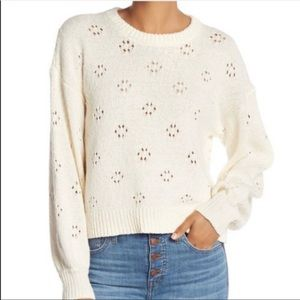 Madewell Pointelle Floral Ivory Cream Sweater NWT